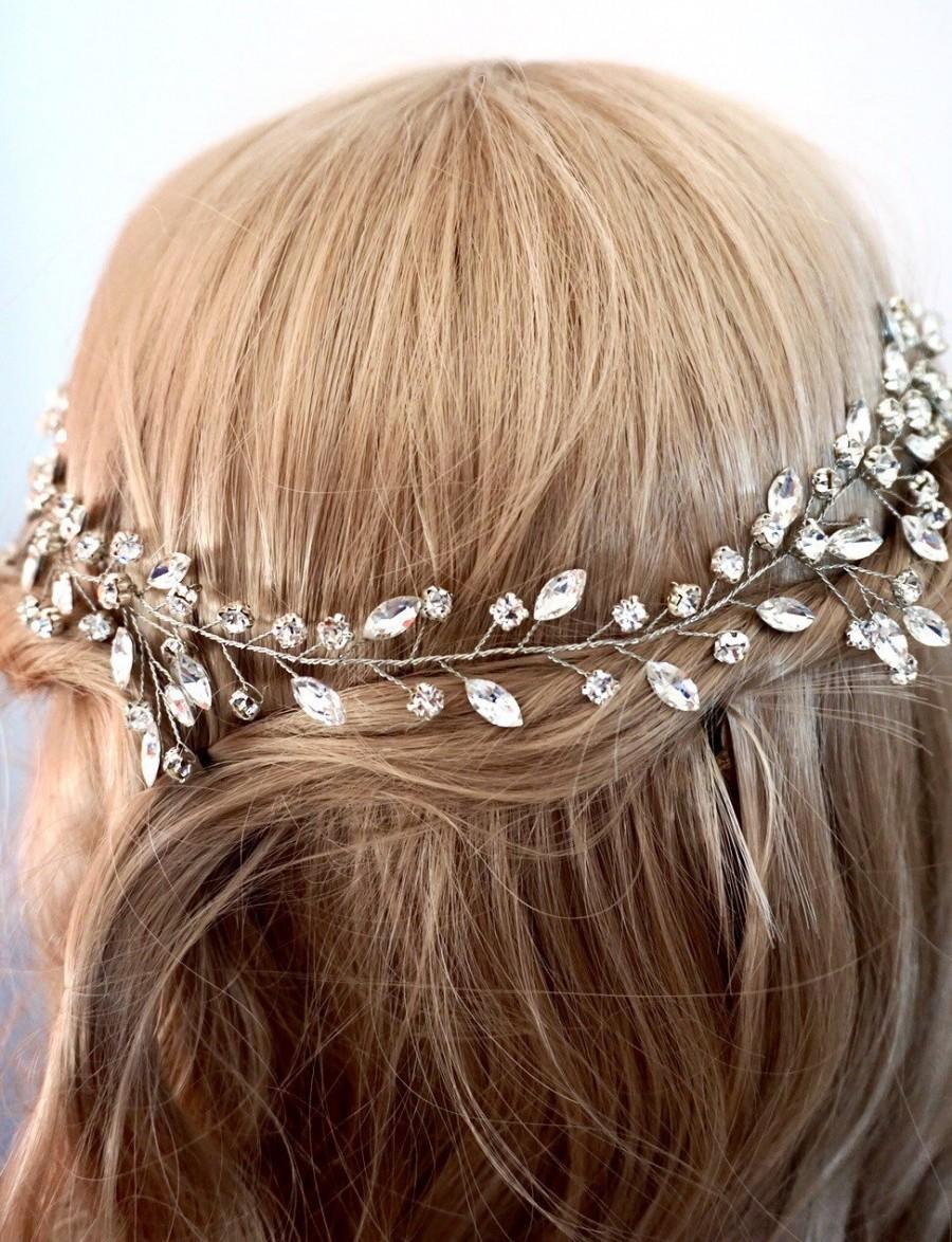 Mariage - Bridal hair vine, wedding hair vine, Crystal vine, bridal hair vine crystal silver, silver wedding accessories