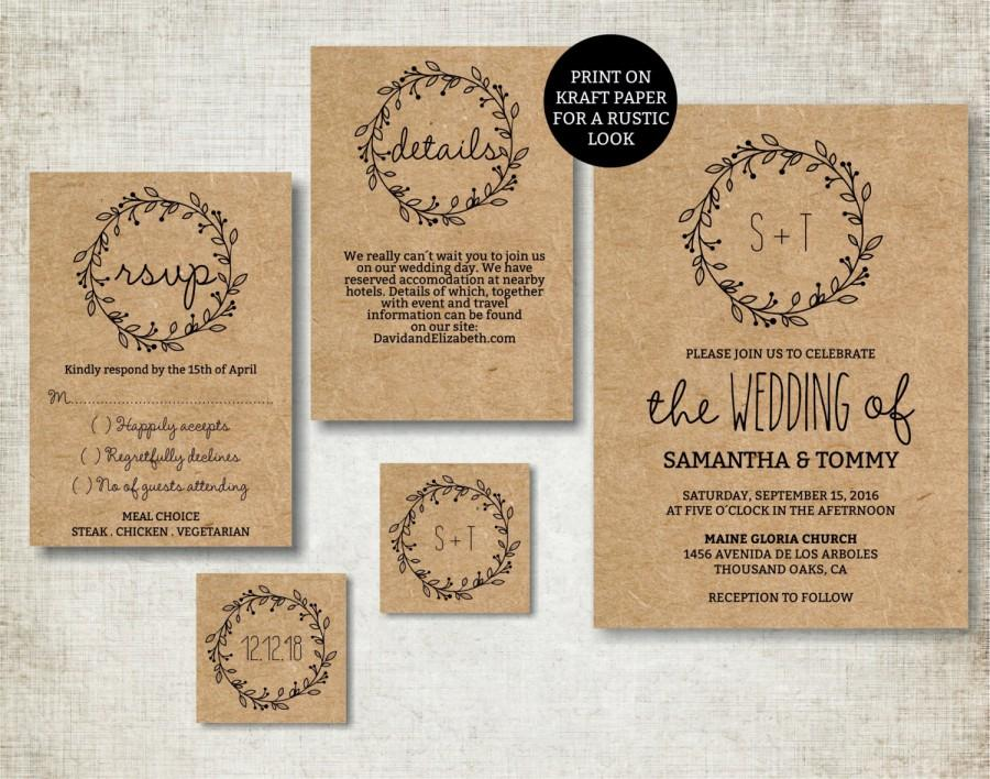 Wedding Invitation Template, Classic Wreath Wedding Invite Printable ...