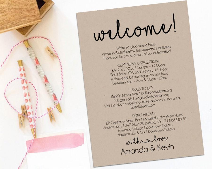 Welcome Letter Wedding Itinerary Printable Welcome Letter