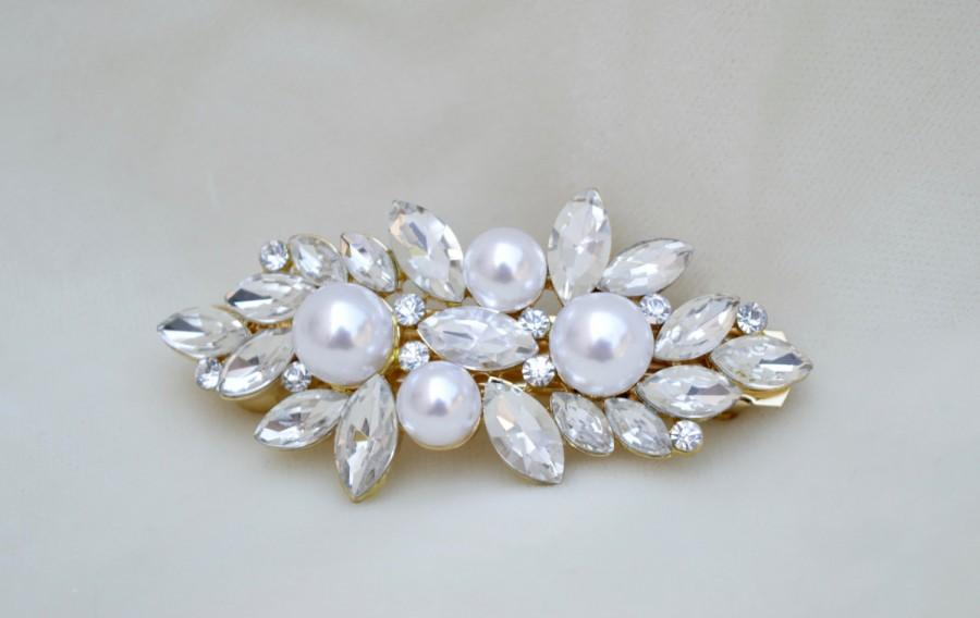 Свадьба - Bridal Pearl And Crystal Gold Hair Clip / Swarovski Crystal Hair Clip / Vintage Inspired Hair Clip / 3 Inch Gold Barrette