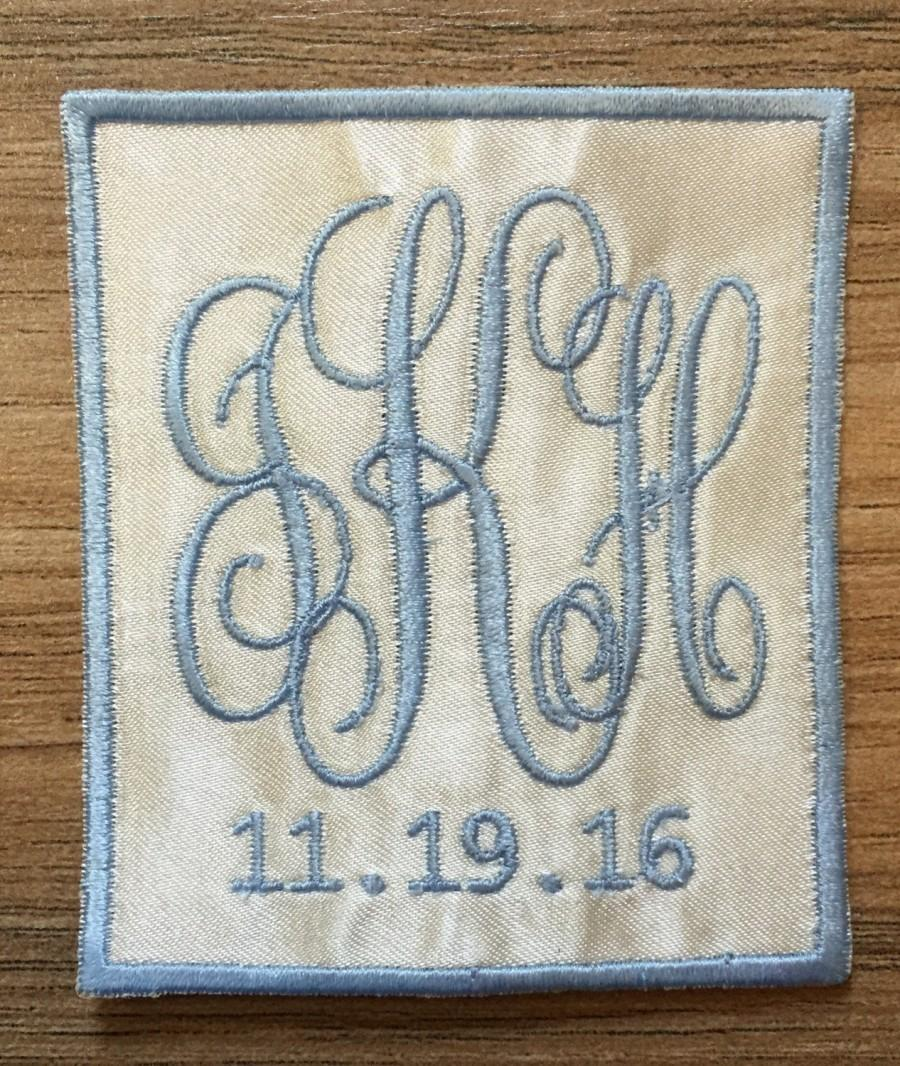 Свадьба - Something Blue - Wedding Dress Monogram (square)