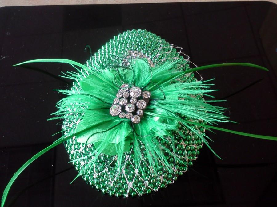 Mariage - Green Wedding fascinator, Green Feather Fascinator, Kelly Green Fascinator,  Teardrop Fascinator, Mother of the Bride fascinator,