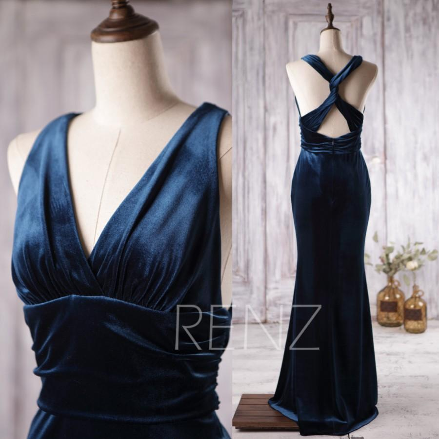 Mariage - 2016 Navy Blue Bridesmaid Dress, Korean Velvet Wedding Dress, V Neck Prom Dress, Criss Cross Straps Evening Gown Mother Of Bride MOB (H153)