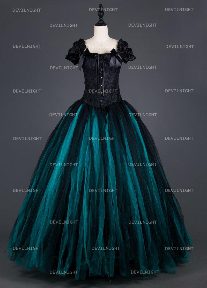 34eb3b9c02853 Black And Tiffany Blue Vintage Gothic Corset Long Prom Party Dress ...