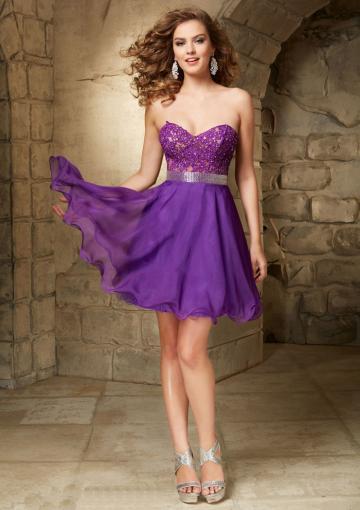 Wedding - Sweetheart Blue Purple Short Length A-line Appliques Beading Zipper Chiffon Sleeveless
