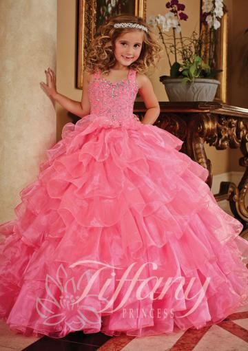 Nozze - Tiers Crystals Ball Gown Lace Up Pink Tulle Straps Floor Length Sleeveless
