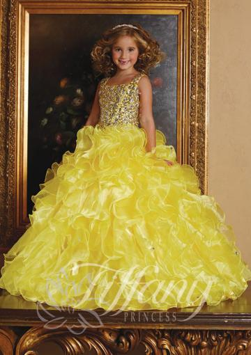 Wedding - Crystals Tulle Ruffled Lace Up Straps Floor Length Ball Gown Yellow Sleeveless