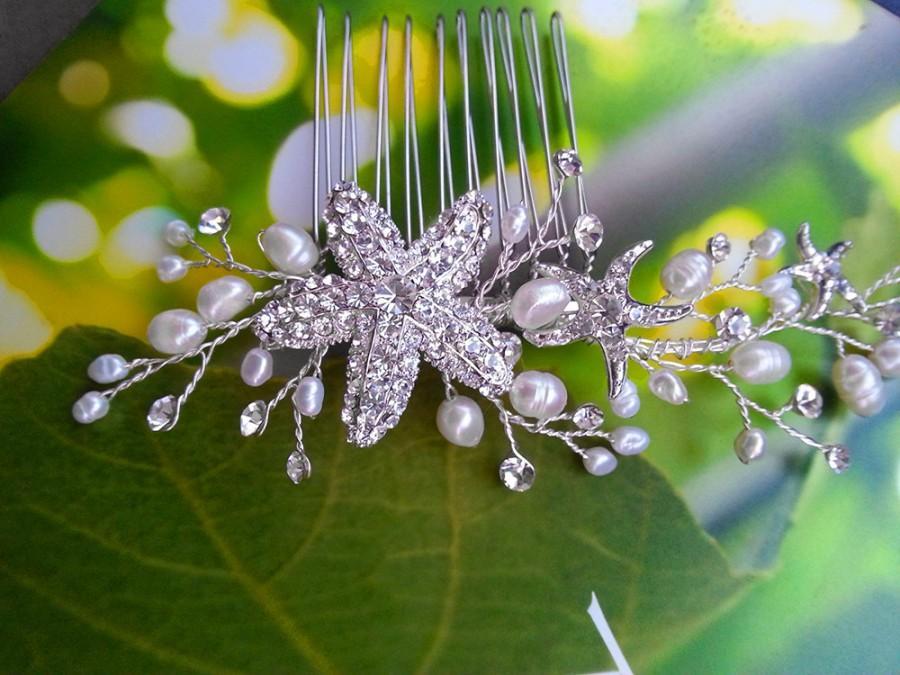 Wedding - Beach Wedding Hair Vine Comb with Rhinestone Starfish and Freshwater Pearls, Bridal Headpiece Destination Wedding Hair Accessory