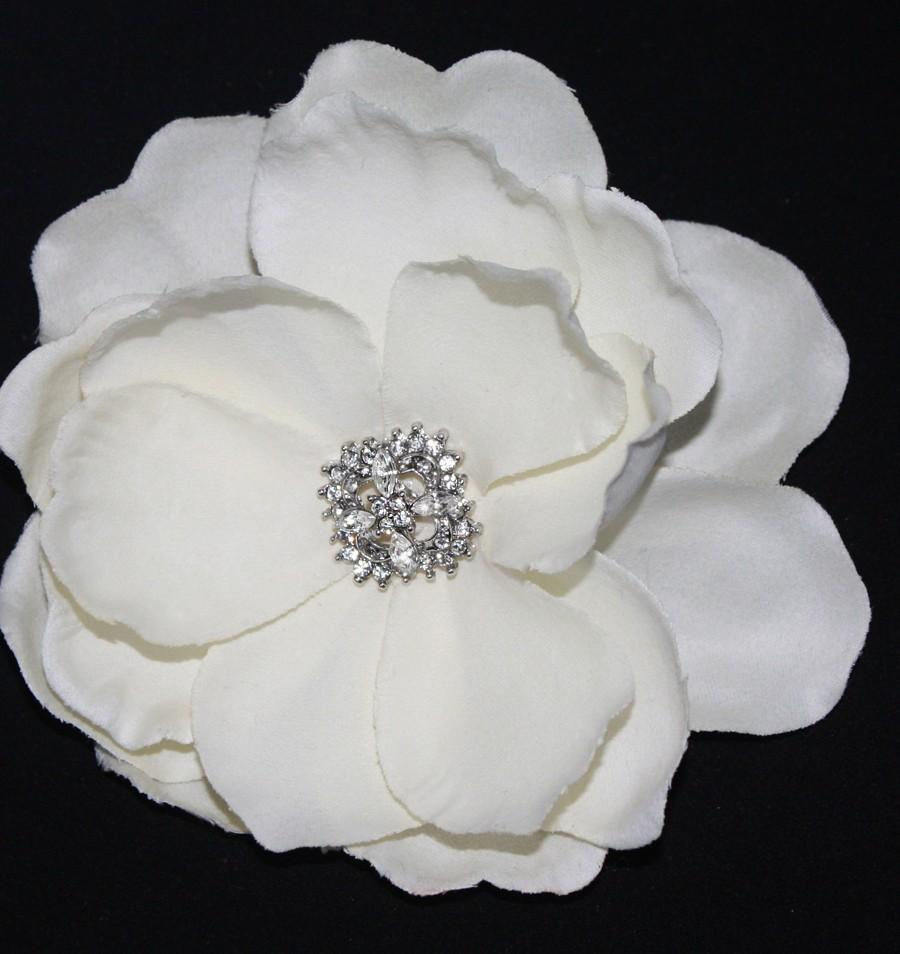 Ivory Gardenia Bridal Hair Flower Clip Wedding Headpiece Fascinator