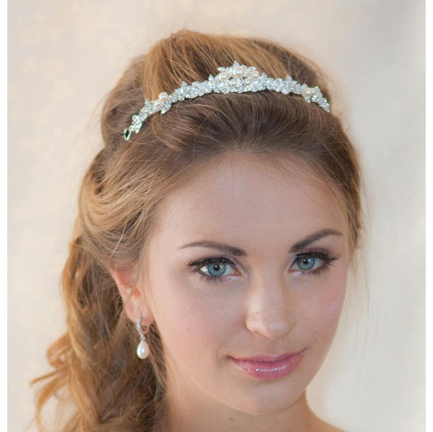 Mariage - Pearl Rhinestone crown wedding silver crown bridal Headband - made to order