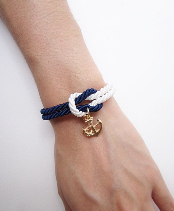 Hochzeit - Nautical Bracelet, Anchor Bracelet, Sailor Bracelet In Navy, Rope Bracelet, Wedding Gift, Beach Wedding Favors, Knot Bracelet