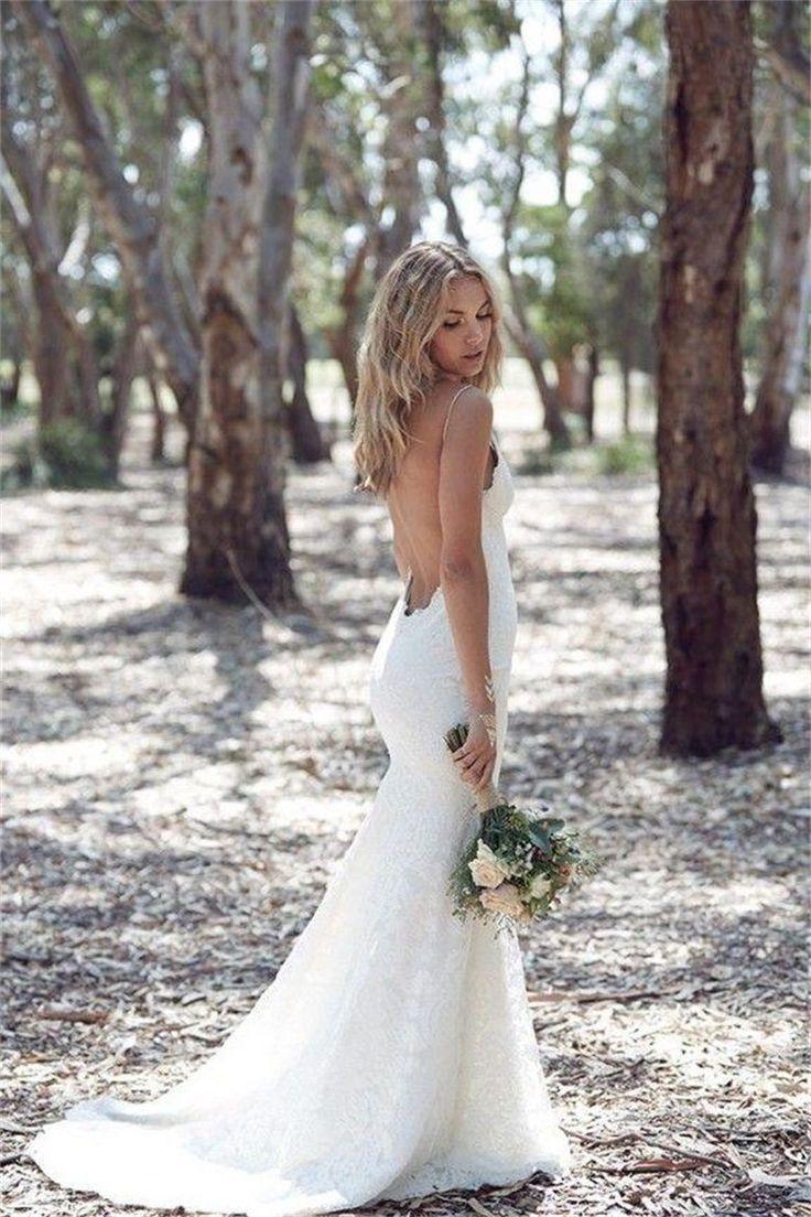 Mariage - V Neck Spaghetti Straps Sweep Train Mermaid Wedding Dress