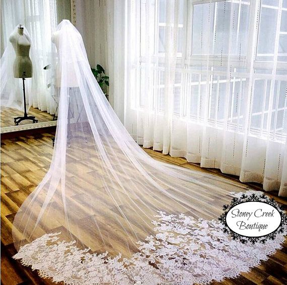 Свадьба - Lace Wedding Veil, Cathedral Wedding Veil, Cathedral Veil, Lace Veil, Alencon Lace, Bridal Illusion