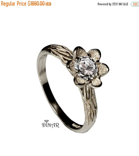 زفاف - flower engagement ring, 14K white Gold floral design Ring, solitaire diamond ring, women diamond ring, half carat diamond ring, solid gold