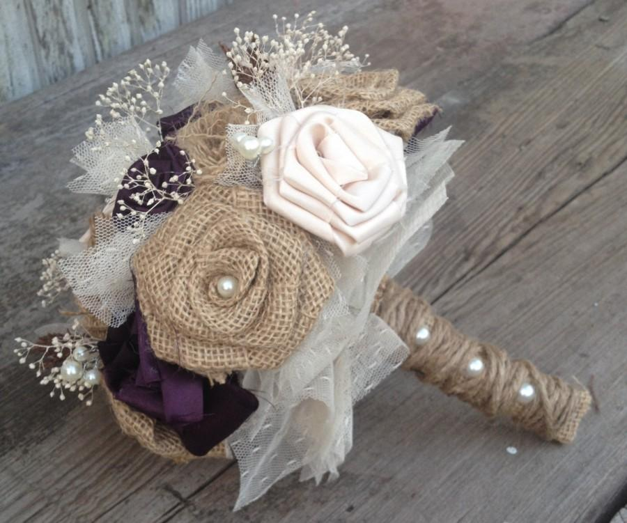 Beautiful Bridal Bouquets With Handmade Silk And Burlap Flowers ...