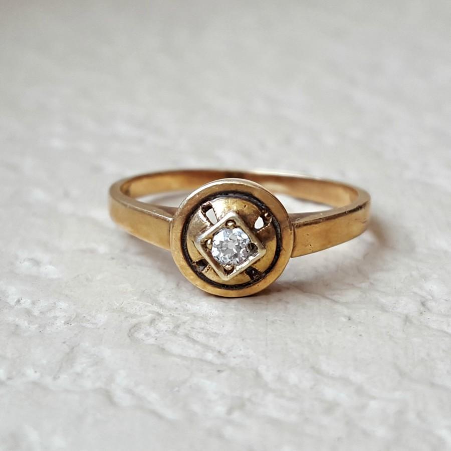 Свадьба - Antique Diamond 14k Gold Vintage Estate Engagement, Promise, or Fashion Ring Size 6.5 Art Nouveau to Art Deco Era