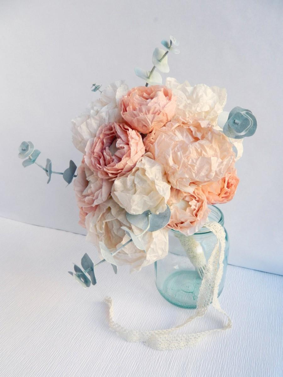 Paper Flower Bouquet With Peonies Ranunculus And Eucalyptus Paper