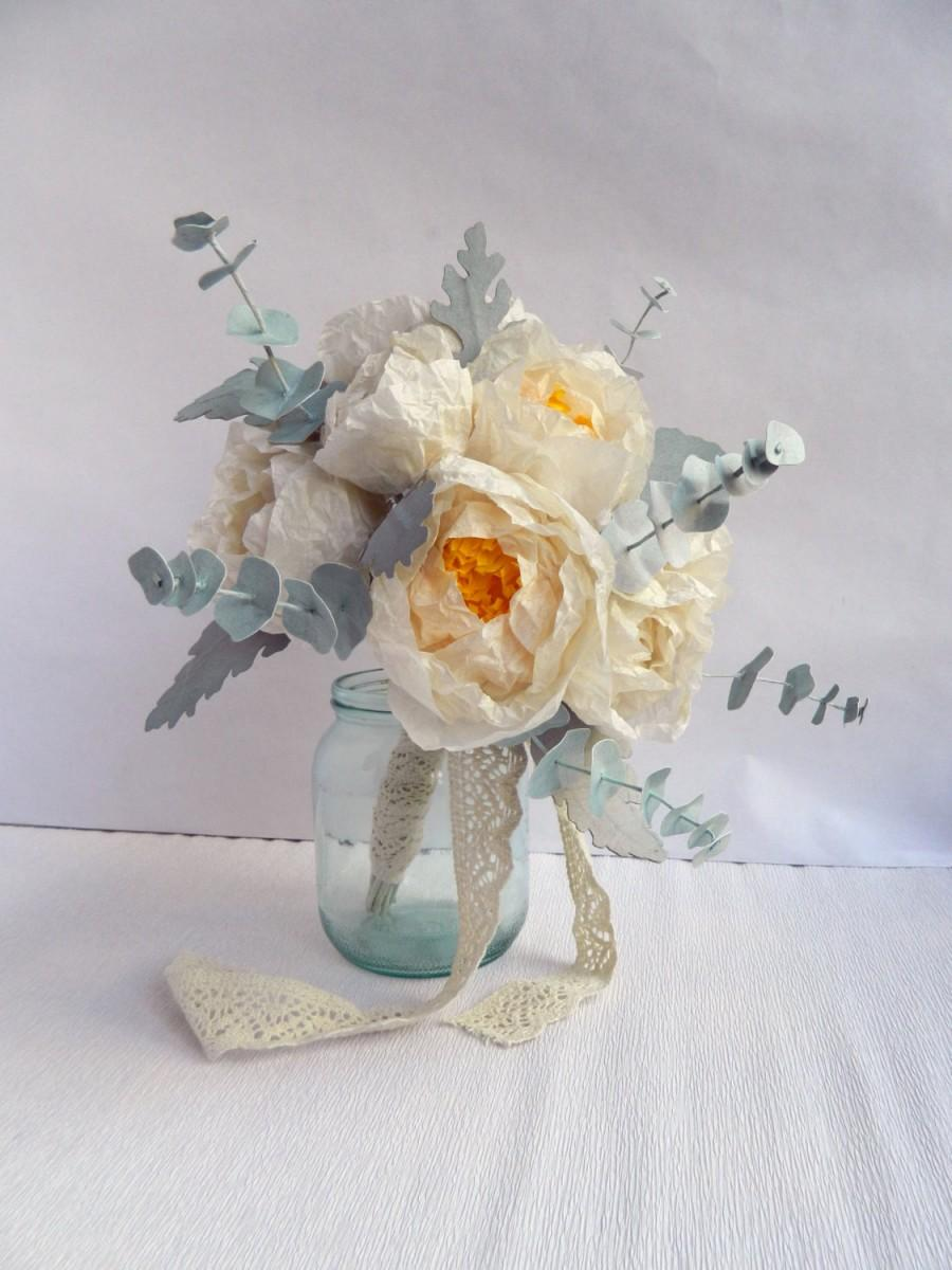 Paper Flower Bouquet With White Peonies Dusty Miller And Eucalyptus