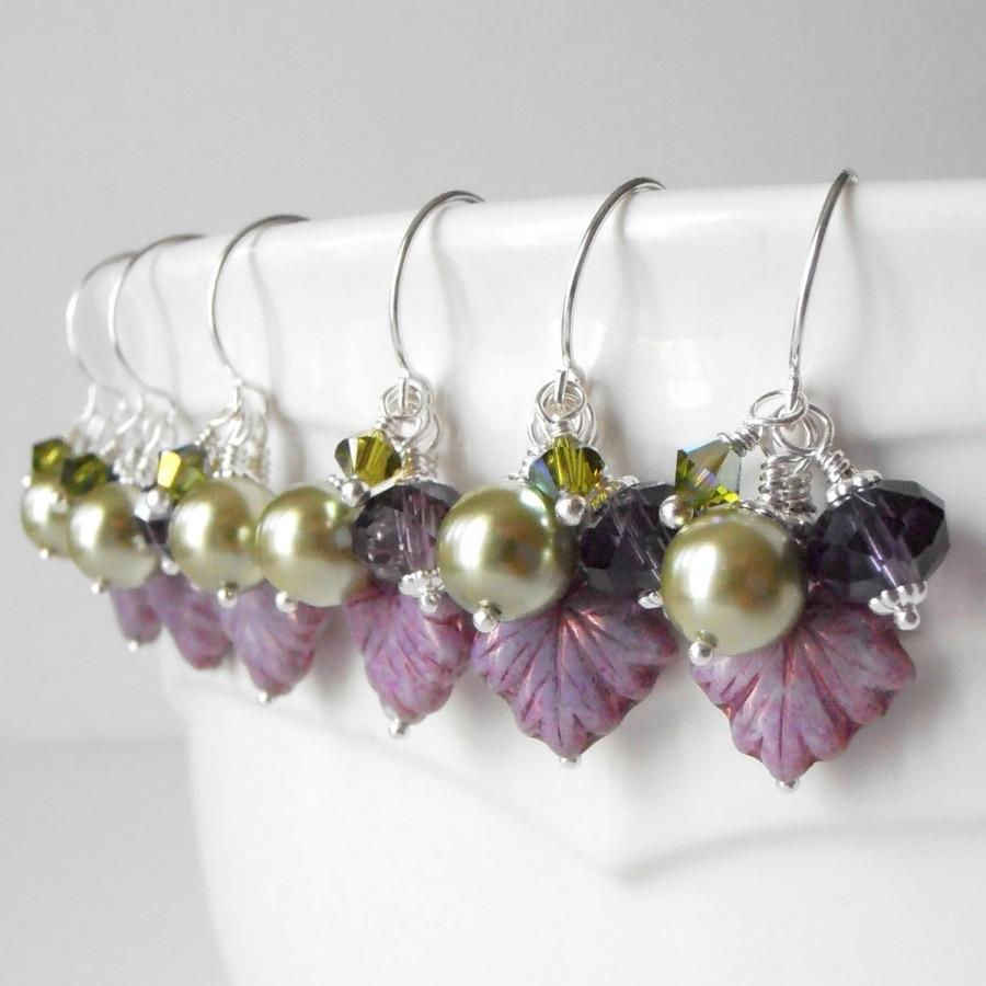 Mariage - Bead Cluster Earrings, Purple and Olive Dangles, Autumn Jewelry, Leaf Bead Earrings, Fall Weddings, Bridesmaid Jewelry, Pierced or Clip On