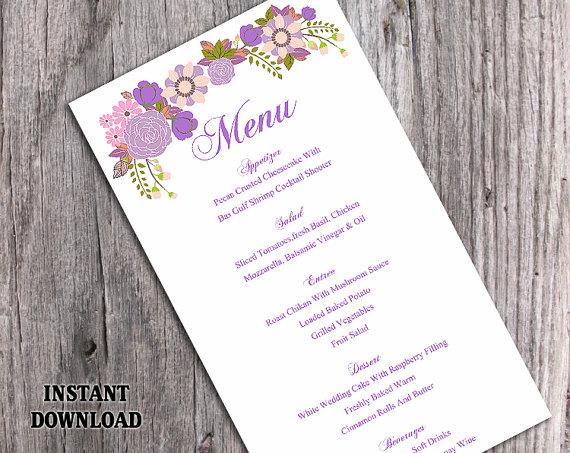 "Wedding - Wedding Menu Template DIY Menu Card Template Editable Text Word File Instant Download Purple Menu Floral Menu Template Printable Menu 4x7"""