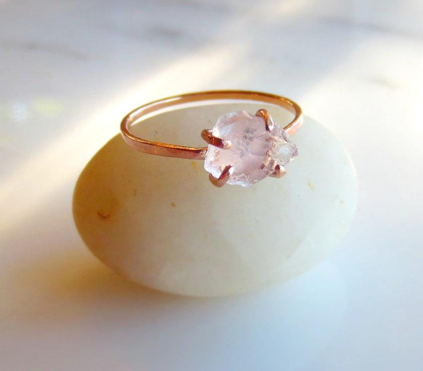 Raw Rose Quartz Ring Rough Pink Stone Ring Quartz Crystal Rose