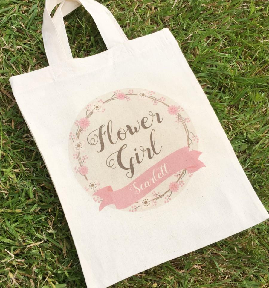 Mariage - Flower Girl Bag, Personalised Flower Girl Gift, Flower Girl Favour, Name Wedding Bag, Flower Girl Keepsake, Flower Girl Thank You