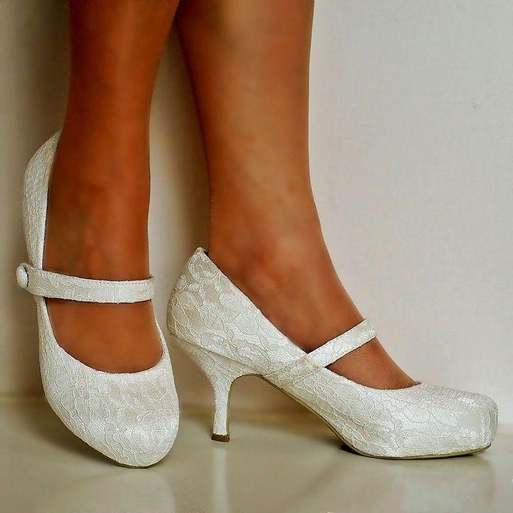 NEW Ladies Wedding Bridal Low Mid Kitten Heel Ivory Floral Lace ...