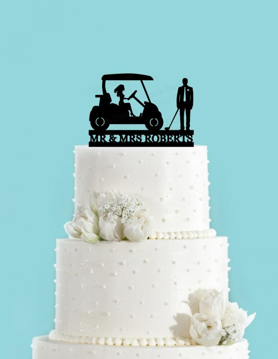 Mariage - Custom Country Club Wedding Fancy Couple Acrylic Cake Topper (Man Holding Golf Club)
