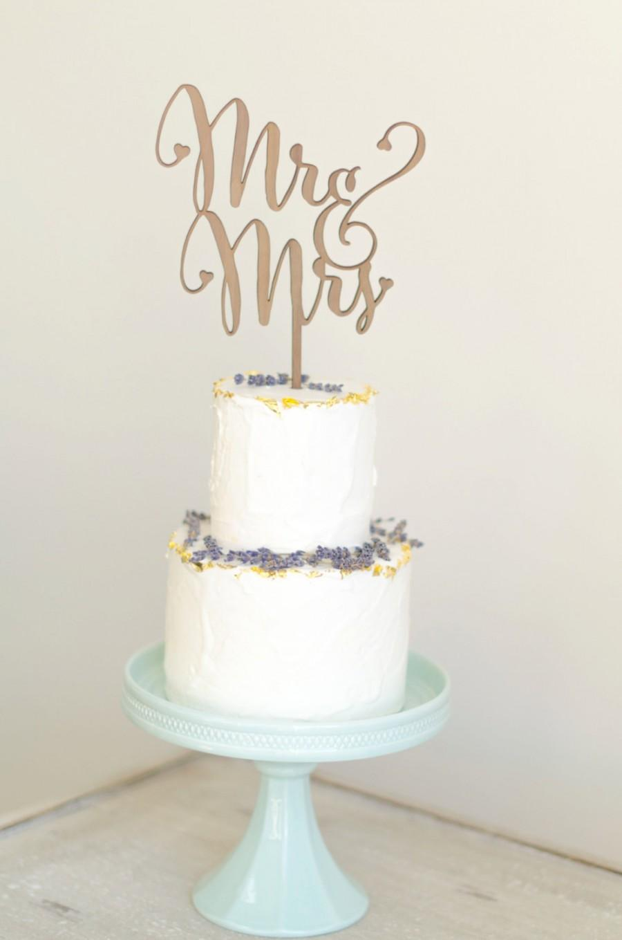 """Mariage - Mr and Mrs Rustic Cake Topper - (ONE) 6"""" Laser Cut Wood Wedding Cake Topper - Rustic Cake Decoration - Genuine Walnut, Maple Wood 1/4"""" Thick"""