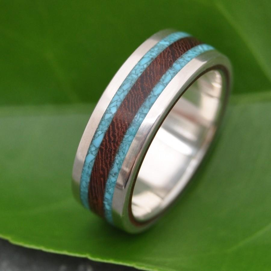 lados turquoise and nacascolo wood ring ecofriendly wood wedding band with turquoise inlay turquoise wedding ring mens wood ring - Eco Friendly Wedding Rings