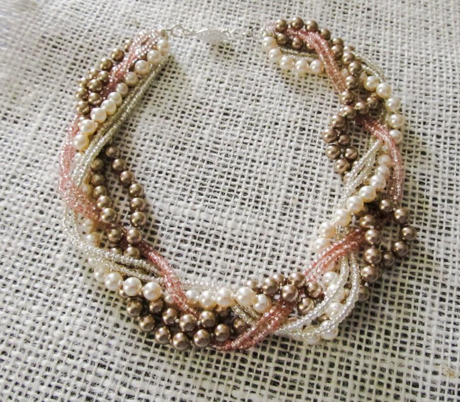 Braided Statement NECKLACE Bridal Pearl Jewelry Chunky Pearl ...
