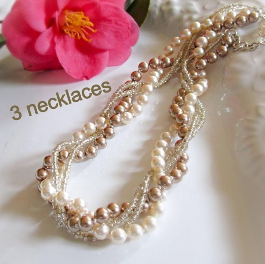 92fcb7d19 Necklaces for Bridesmaids Chunky pearl necklaces Bridesmaid pearl jewelry  Braided bridesmaid necklace Bridal party gifts Set of 3 necklaces