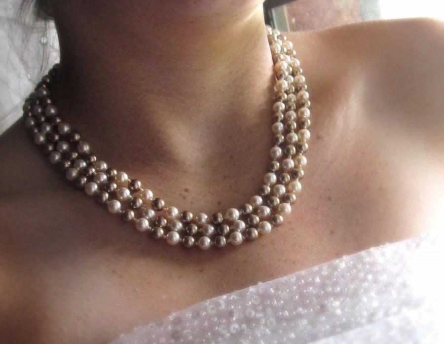 Mariage - Wedding jewelry set Triple strand pearl necklace Silver chandelier earrings  Bridal Pearl set Fashion pearl jewelry set Elegant jewelry Gift