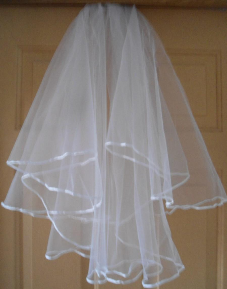 Wedding - Elbow length 2 layer (22/26 inch)  white wedding veil - SATIN TRIM, attached comb