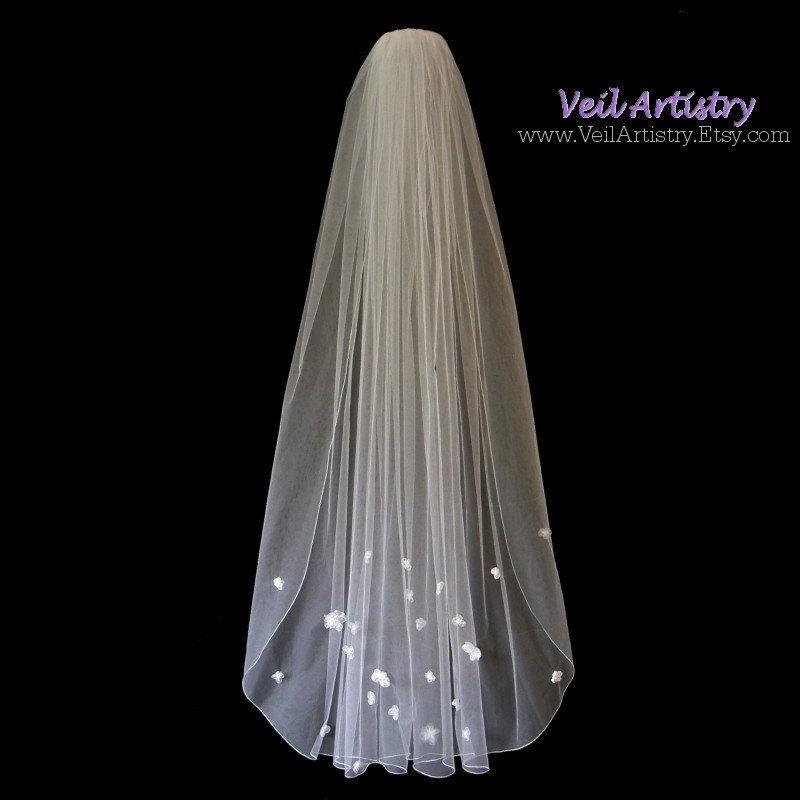 Wedding - Bridal Veil, Classic Veil, Ballet Veil, Waltz Veil, Delicate Embroidered Edge, Ribbon Roses Veil, Made-to-Order Veil, Bespoke Veil