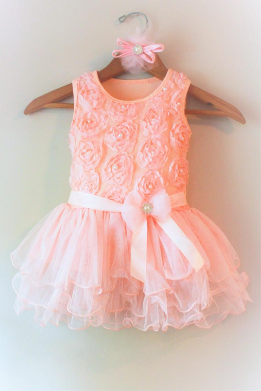 Blush Pink Flower Girl Dress Coral Toddler Dress Tutu Blush Pink