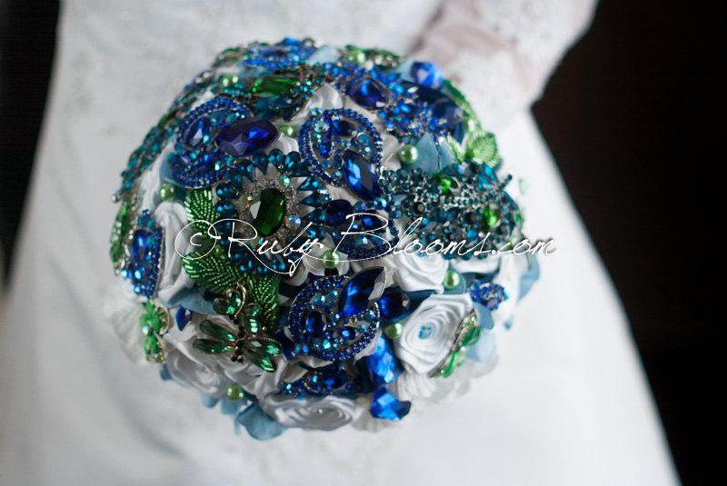 Blue Green And White Wedding Brooch Bouquet Scottish Morning Emerald Royal Keepsake Bridal Broach