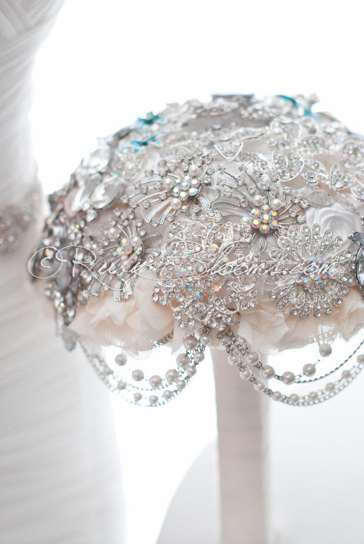 Great Gatsby Wedding Brooch Bouquet Glamour Gatsby Pearl Crystal
