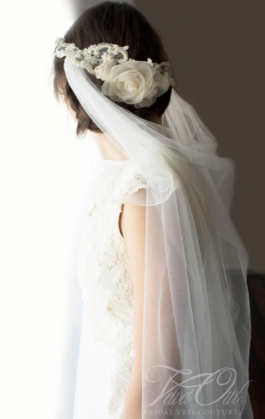 Mariage - Bridal draped veil Ivory tulle antique lace hand sewn pearls silk flowers headpiece - EVIANNA