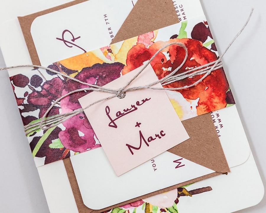 زفاف - Rustic Modern Floral Wedding Invitations,Rustic Floral Wedding Invites,Autumn Floral Wedding Invite,Deep Red Country Wedding Invitation Set