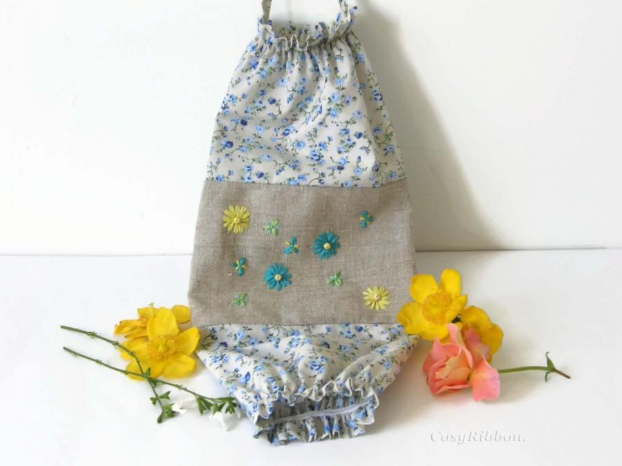 Blue And Yellow Plastic Bag Holder Fabric Bags Dispenser Storage Grocery Embroidered Linen