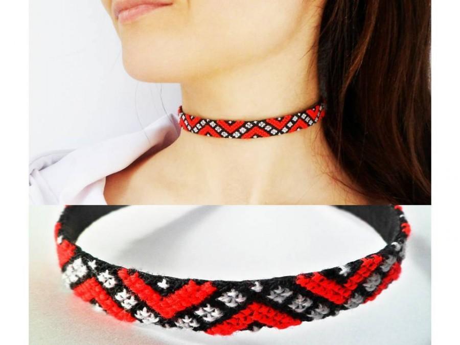 Wedding - Red choker Bohemian choker Red Grunge choker Red women necklace choker Bohemian women choker Bohemian fashion choker Festival jewelry