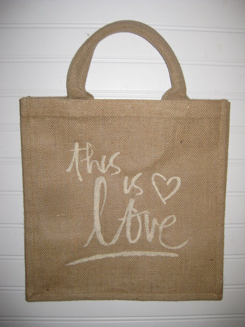 Mariage - Burlap/Jute Bag - This is Love or Monogrammed - Just add your initials - Rope type handles