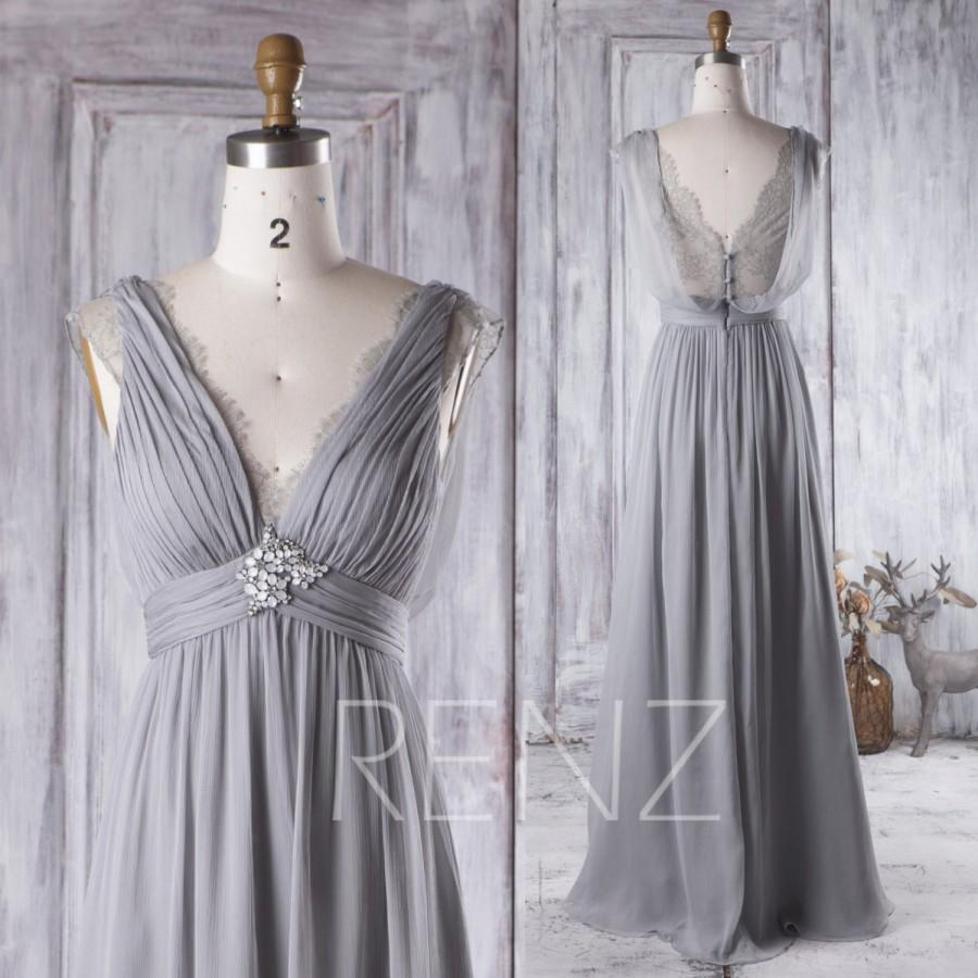 Düğün - 2016 Light Gray Bridesmaid Dress Long, V Neck Lace Wedding Dress with Beading, Draped Lace Back Prom Dress, A Line Formal Dress Floor (H267)