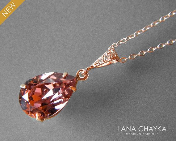 Blush Rose Crystal Rose Gold Necklace Swarovski Rhinestone Teardrop