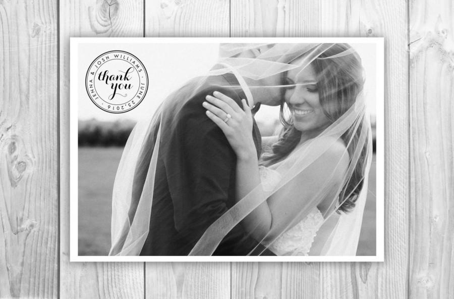 Mariage - Postcard Thank You Card, Printable Digital File Thank You Postcard, Wedding Photo Thank You Card Digital