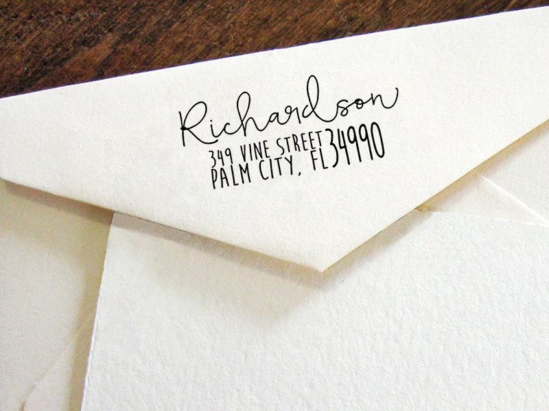 Return Address Stamp, Modern Calligraphy Stamp,Personalized SELF ...