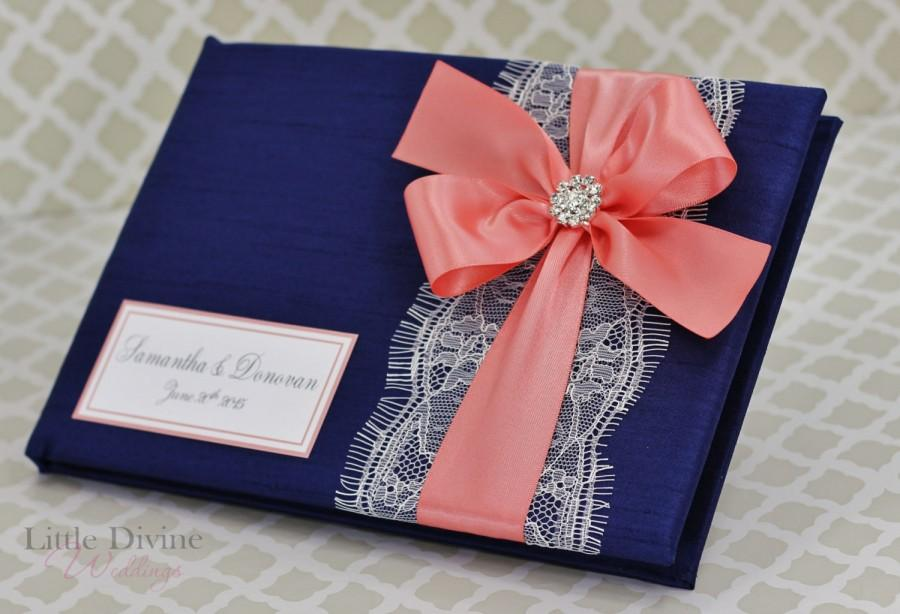 Mariage - Navy Blue and Coral Wedding Guest Book Lace Custom Made in your Colors