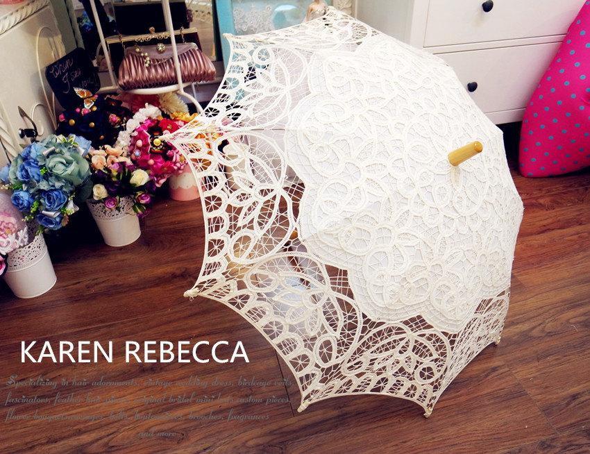 Mariage - New Pattern Battenburg Lace Vintage Umbrella Parasol For Bridal Bridesmaid Wedding