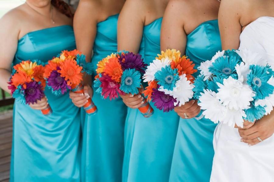 15 Piece Daisy Bridal Bouquet Wedding Bouquet Set Turquoise Daisy ...